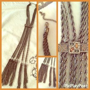 Silver Chain, rope Chains & Tassels Necklace.